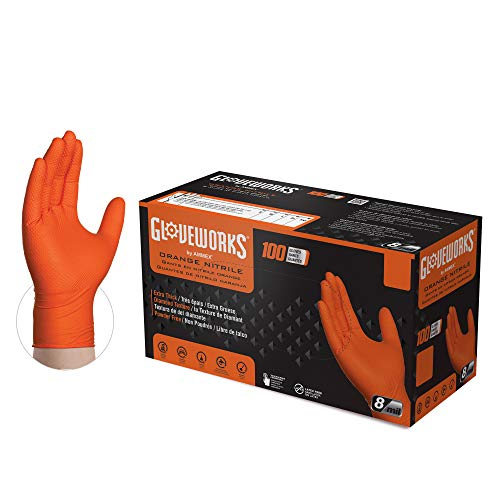 GLOVEWORKS HD Industrial Orange Nitrile Gloves with Raised Diamond Texture Grip, Box of 100, 8 Mil, Size X-Large, Latex Free, Powder Free, Textured, Disposable, Food Safe, GWON48100BX