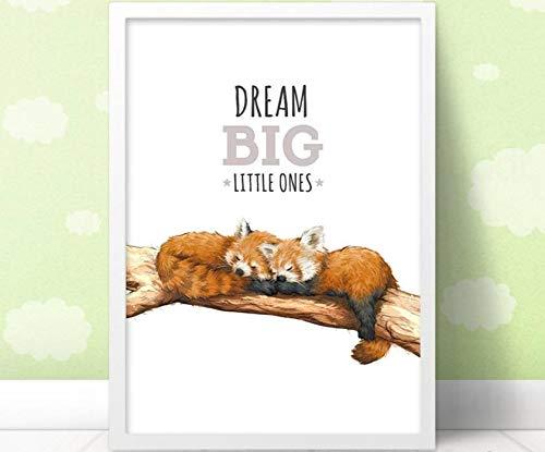 Impression artistique de pépinière de pépinière Red Panda   Dream Big Little Ones   Art mural pour enfants par Pawprint Illustration   Sans cadrage