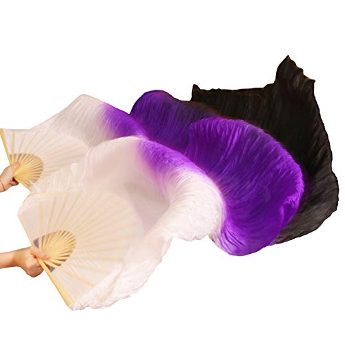 シルクファンベール 2本セット シルク100% ベリーダンス ファンベール シルクファンベール ベール シルク 衣装 扇子 団扇 舞台 小道具 アクセサリー 扇子 団扇 150 * 90 cm (白紫黒)