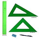PACK LOTE Faibo Técnico - Regla verde 30 Cm + Escuadra Verde 30 Cm + Cartabón 30 Cm + REGALO 1 Portaminas Edding P12 mina 0,7mm y 1 Goma de borrar Faber Castell Dust-Free (color al Azar)