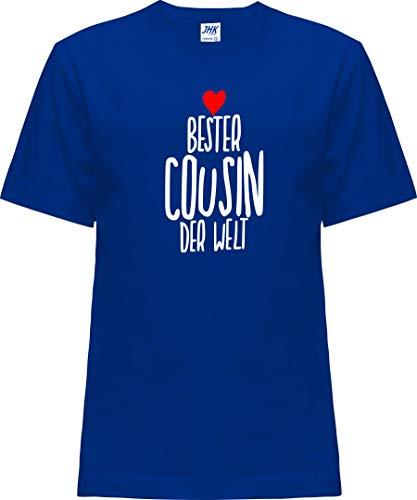 Kleckerliese Baby Kinder T-Shirt Kurzarm Sprüche Jungen Mädchen Shirt Nicki mit Motiv Bester Cousin der Welt, Royalblue, 2 Jahre