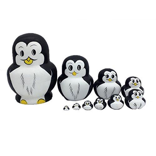 Ultnice Matrjoschka-Pinguine aus Holz, verschachtelbare Spielzeugpuppe, 10 Stück