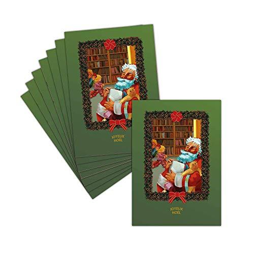 Tarjeta Noel–Papá Noel–8tarjetas–Tarjeta Le Bon Papa Noel sobre fondo verde ➽ Dispo en 3tamaños Carte pliée - 14 cm x 19,5 cm