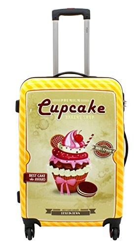 F|23, Hartschalen Trolley, Höhe: 50 cm, Mit Zahlenschloss, 4-Rollen-System, Cupcake, Orange, 77046-35