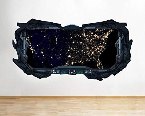 3D Wandaufkleber Raum Planet Sterne Erde Coole Fenster Wandtattoo 3D Kunst Aufkleber Vinyl Zimmer