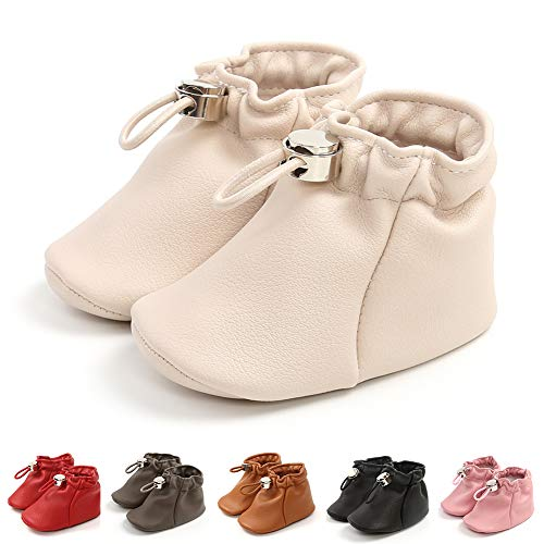 Baby Girls Boys Leather Boots Soft Sole Moccasins Toddler Walker Booties Newborn Shoes White 13CM