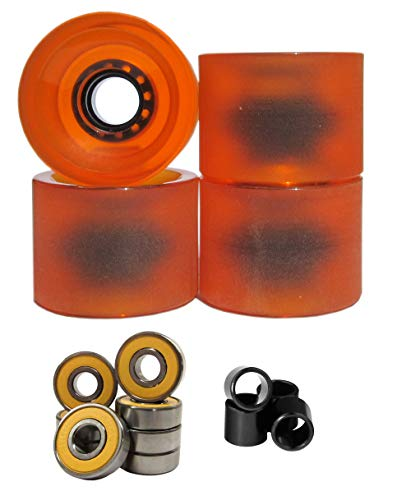 Lucid 70mm 83a Longboard Cruising Skate Wheel with Bearings and Spacers (Clear/Orange)