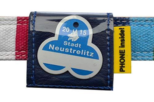 Josi.li Halsbandtasche für Hundemarken bis 38x38mm, Nappaleder, 5 Farben, bis 40mm Halsbandbreite, 3 Fächer für bis zu 4 Hundemarken, Adresskarton, Hinweislabel (Royalblau)