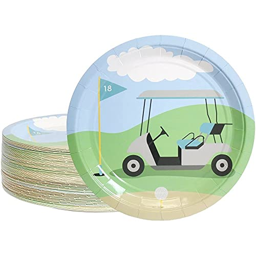 Disposable Plates - 80-Count Paper Plates, Golf Party Supplies for Appetizer, Lunch, Dinner, and Dessert, Kids Birthdays, 9 inches in Diameter