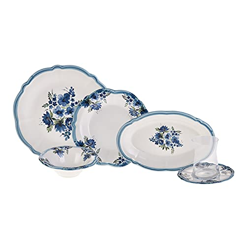 KARACA - Nostalgia 26 Teiliges-Teller Set 6 Personen-Porzellan Tafelservice Für 6 Personen - Geschirrset 6 Personen mit Teegläser - Tafelservice 26 Teiliges