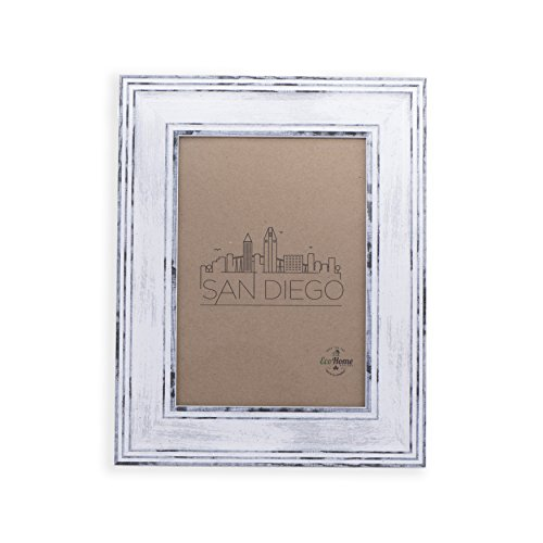 8x10 Picture Frame Distressed White - Mount Desktop Display, Frames by EcoHome