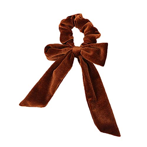 YUNGYE Mode for Dames Doux nœud en Velours Streamer Chouchou Cheveux Corde Tie Bandeaux élastiques Queue de Cheval Titulaire de Mariage Couvre-Chef Accessoires (Color : Brown)