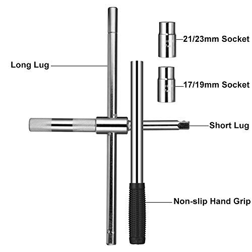 Eastyard 4-Way 25-inch Telescoping Lug Wrench Universal Tire Tool Wheel Brace Set with 4 Standard Sockets (17/19, 21/23mm) Heavy Duty Tire Nut Wrench for Auto Car Vehicle Repair