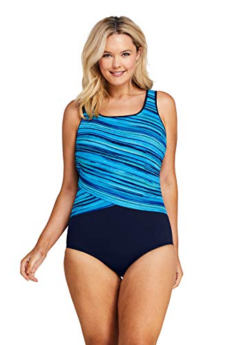 Lands' End Womens Tugless One Piece Swimsuit Soft Cup Deep Sea/Ombre DD-Cup Plus 24W