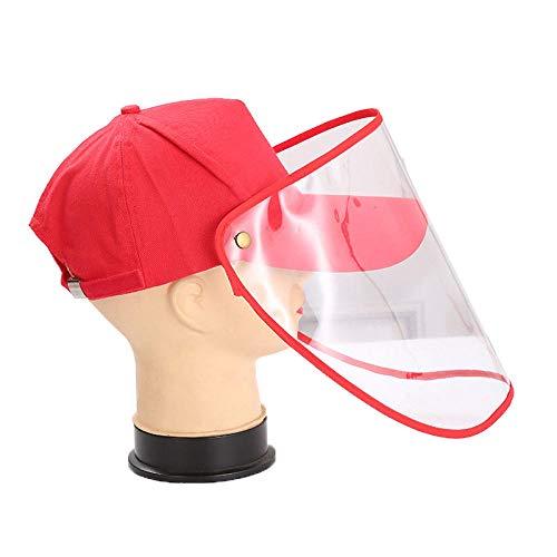 Unisex Männer Frauen Baseball Cap Unisex Anti-Staub Anti-Wind Einstellbar Abnehmbare Transparente Schildmaske Outdoor-rot
