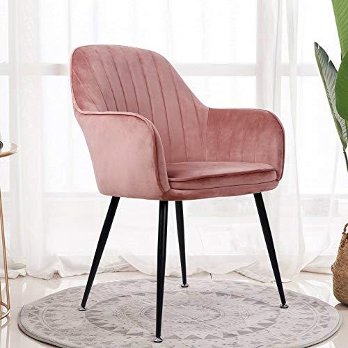 Amzdeal Pink Velvet Accent Chair Upholstered Dining Chair Elegant Modern Leisure Armchair for Living Room, Bedroom Home, Office, Restaurant