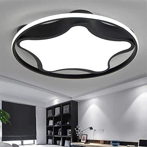 Lámpara de techo, lámpara para habitación infantil, redonda, estrella, luz blanca, protección para los ojos, lámpara de estudio, moderna y sencilla, color negro