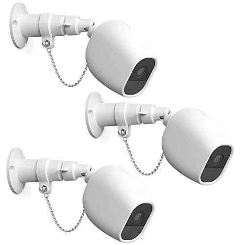 HOLACA Security Outdoor Mount for Arlo pro Arlo pro 2 with Anti-Theft Chain,Silicone Protective Case-Extra Protection for Your Arlo Wireless Home Security Camera (3 Pack, White)