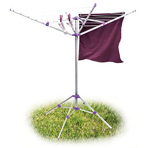 Relaxdays Sèche-linge étendoir à linge extérieur Corde 19 m séchoir parapluie avec bras Support avec 4 piétements étendre vêtement jardin en aluminium, gris