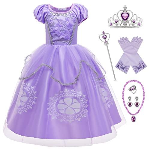 YOSICIL Vestido Princesa NiñaDisfraz Princesa Sofia Vestido de Fiesta Tul Manga Corta...