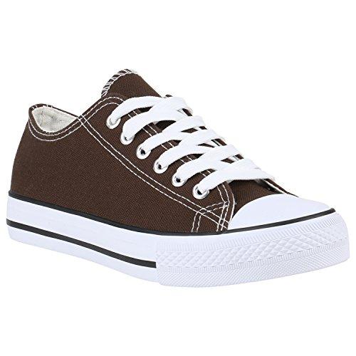 stiefelparadies Damen Schuhe Sneakers Low Canvas Schuhe Turnschuhe Freizeit 142369 Braun 36 Flandell