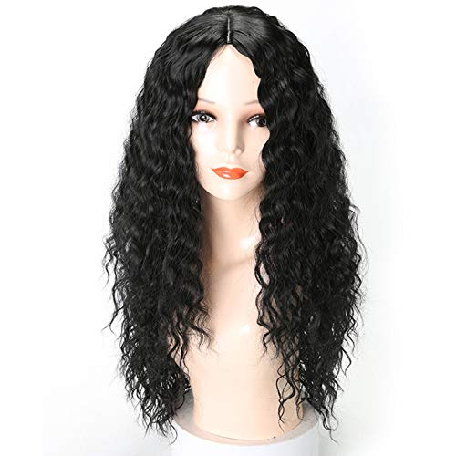 Black Long Wave Wig Fashion Small Curly Wave Fluffy Natural Synthetic Hair Wig Cosplay Party Wigs for Women Daily False Hair