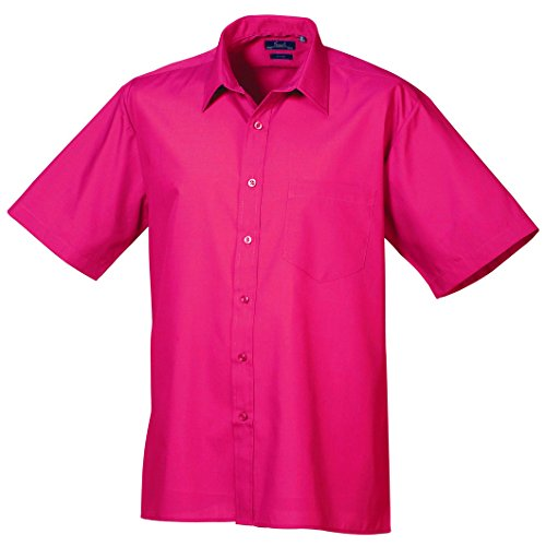 Premier Premier Kurzarm Popeline-Hemd heiße Rosa 14.5