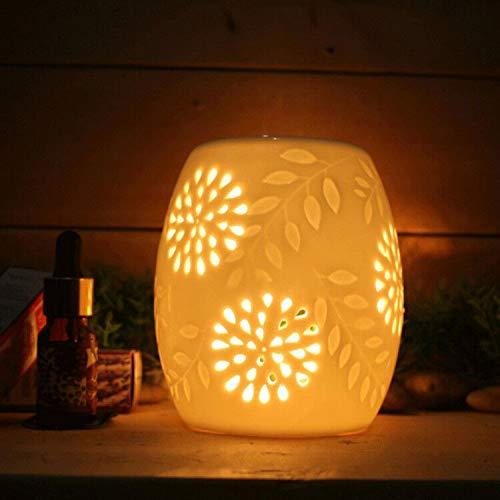 Wuudi Halter Kerzenhalter Keramik aushöhlen Blumen Aroma Lampe Öl Diffusor Romatherapieofen Keramik Räuchergefäß Öl Kerze Ofen