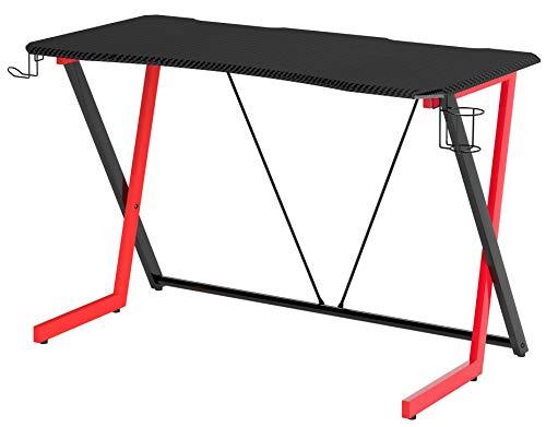 SixBros. Gamer Computertisch in Carbon Optik, Gaming Schreibtisch, schwarz & rot, Gamingtisch mit Getränkehalter, Racing, 120 x 60 cm GT-003/8065