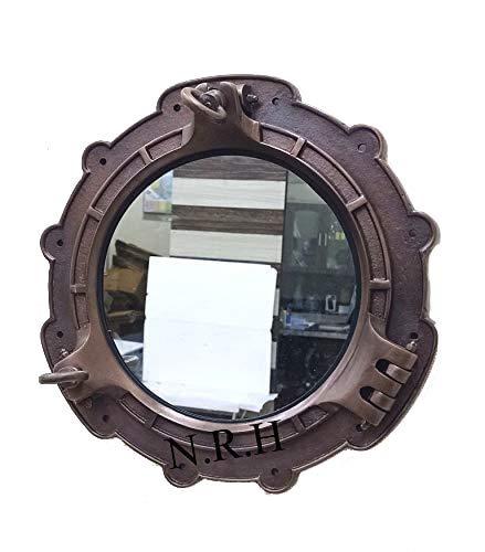 Espejo de estilo vintage con acabado de cobre para ventana de buque náutico