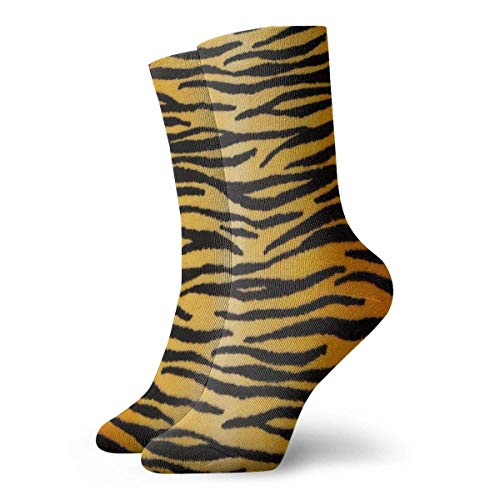 artyly Animal Print Tiger Black Gold Crew Calcetines deportivos clásicos transpirables para vestir 30 cm para...
