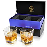 Unique Heritage Whiskey Glass Set. 10oz Bourbon Glasses In Stylish Gift Box. Genuine Leadfree Crystal Scotch Glasses Designed In Europe. 2 Double Old Fashioned Rocks Glasses For Liquor And Alcohol.