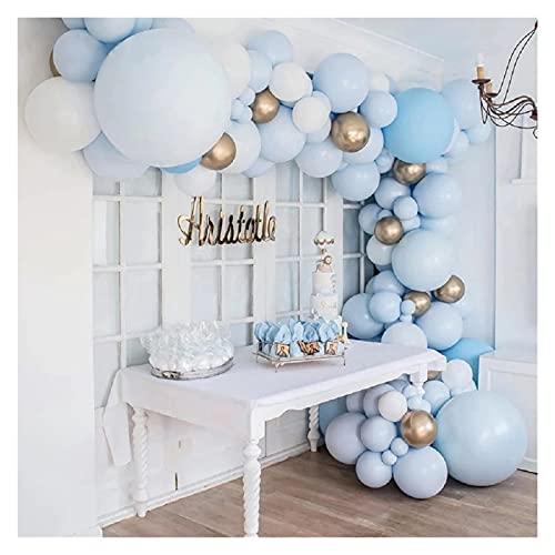 XIAOZSM Globos 103 unids macarrones Azul Globo Arco Kit de cumpleaños Fiesta decoración niños niño Baby Baby bodlo galón Guirnalda Decoraciones