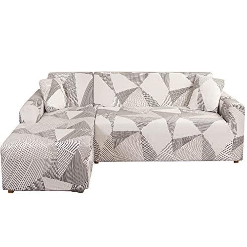Feilaxleer Funda Sofa Chaise Longue Elástica Brazo Izquierdo/Derecho,Funda para Sofá en Forma de L (3 Plazas +2 Plazas,E)