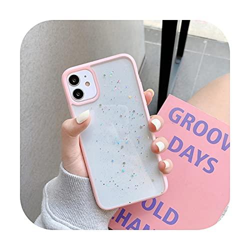 Twinkle Candy Transparente Handyhülle für iPhone 11 12 Mini Pro Max XS X XR 7 8 6 6S Plus SE 2020 Weiche Stoßfeste Hüllen Abdeckung Pink für iPhone 12