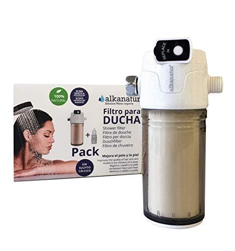 Filtro para ducha Alkanatur - Totalmente libre de sulfito cálcico - Elimina hasta el 99% del cloro y metales pesados - 50.000 litros de agua - Mejora el pelo y la piel