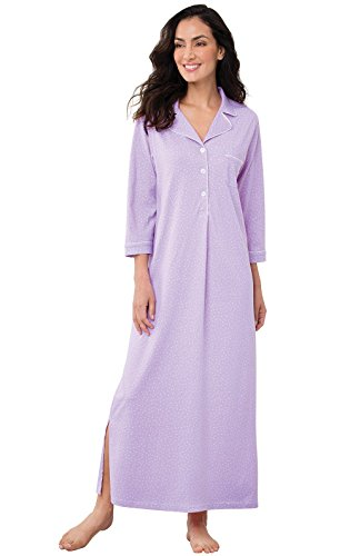 PajamaGram Womens Nightgowns Ultra Soft - Cotton Pin Dot, Lavender, L, 12-14