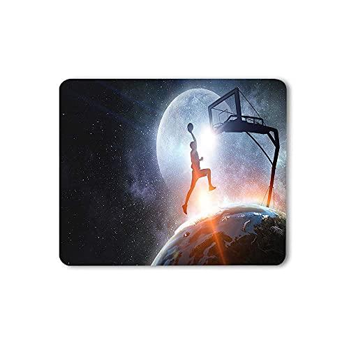 EKOBLA Basketball World Cup Mauspad Erde 3D Render Athletic Championship Globe Jump Planet Durable Mauspad für Office Desktops Computer PC Naturkautschuk
