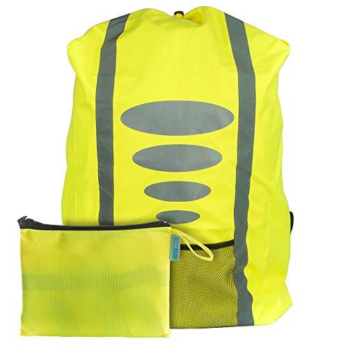 EAZY CASE Rucksack Schulranzen Regenschutz, Schutzhülle mit Reflektorstreifen, Regenüberzug, Regenschutzhülle wasserabweisend mit Reflektor und Tasche für mehr Sicherheit im Straßenverkehr, Gelb