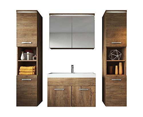 Badezimmer Badmöbel Set Paso XL LED 80 cm Waschbecken Lefkas (Braun) - Unterschrank 2X Hochschrank Waschbecken Möbel