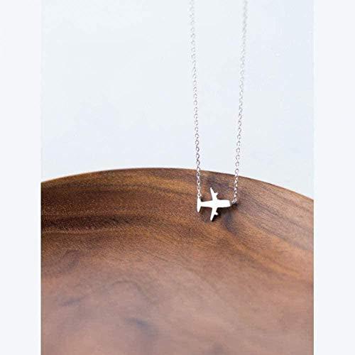 Collar Collar para Mujer Hombre Mujer Collar con colgante de plata Colgante elegante Collar con colgante minimalista Avión geométrico para mujer Graduación 925Collar con colgante de joyería GIF