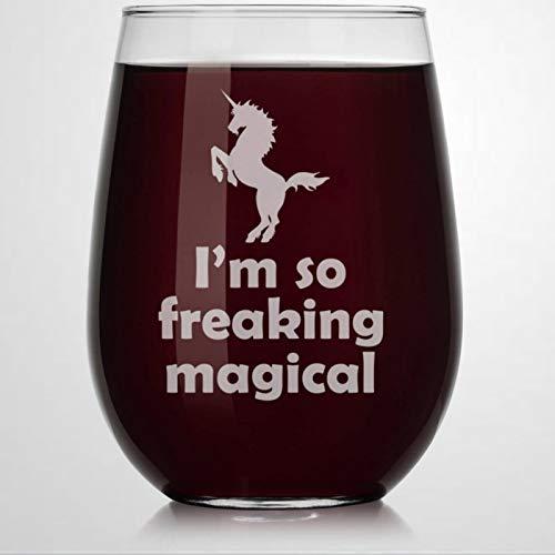 Verre à vin sans pied avec licorne magique « I'm So Freaking » - Verre à whisky gravé - Parfait pour père, maman, garçon ou petite amie