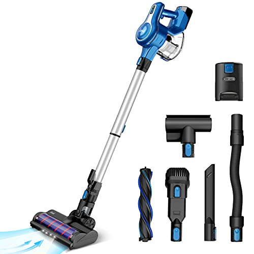 Cordless Vacuum Cleaner, 23Kpa 250W Brushless Motor Stick Vacume, Up to 45 Mins Max Runtime 2500mAh Rechargeable Battery, 10-in-1 Lightweight Handheld for Carpet Hard Floor Car Pet Hair, Blue-INSE S6