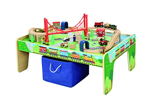 50 Piece Wooden Train Set with Activity Table & Storage Bin - 100% Hardwood Track, Engine, Oil Tanker, Caboose, Fire Engine, Station, Policeman, Farm Animals. Compatible with All Major Brands