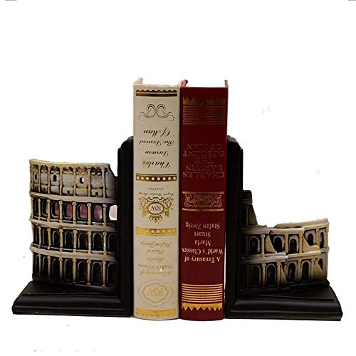 DS-Wang Bookends Vintage Architectural Resin Rome Colosseum Bookend Magazine Shelf Living Room TV Cabinet Bedroom Hotel Cafe Bookstore Desktop Decoration 24 9 16CM Delicate Beautiful
