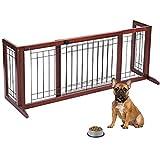 COSTWAY Barrera de Seguridad Extensible de Madera para Puerta Escalera Valla Protección para Bebé Perro Mascotas