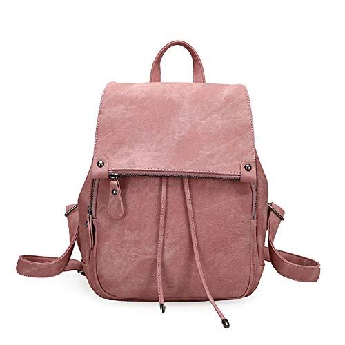 YANKAI Tipo de Cubierta Mochila Moda Moda Mochila College Estilo de Ocio Bolsa de Viaje Bolsa de Color sólido,Rosado