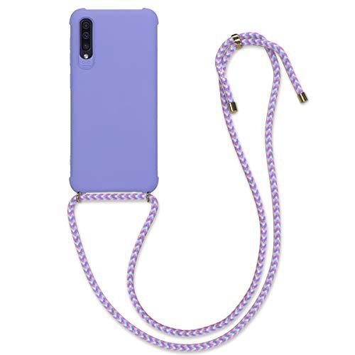 kwmobile Carcasa Colgante Compatible con Samsung Galaxy A50 - Funda con Cuerda de TPU Mate en Lila