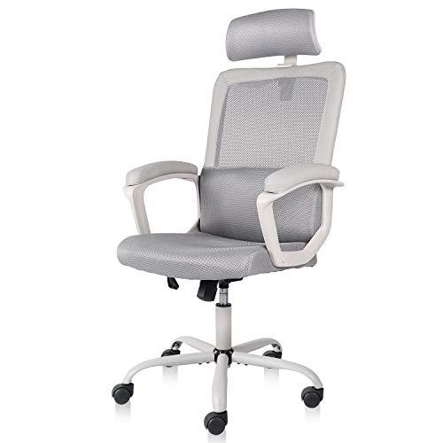 SMUGDESK Mesh Office Chair, High Back Ergonomic Desk Task Chair Padding Armrest Adjustable Headrest,Gray