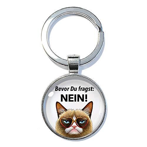 Katze Nein - ABOUKI | handgefertigter Taschenanhänger Schlüsselanhänger mit Spruch